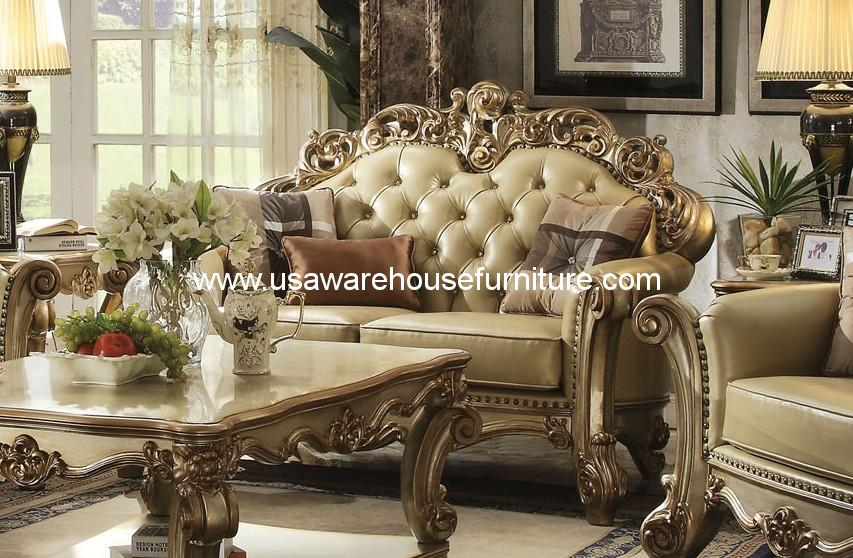 Acme Furniture Gold Patina Vendome Royal Living Set Usa
