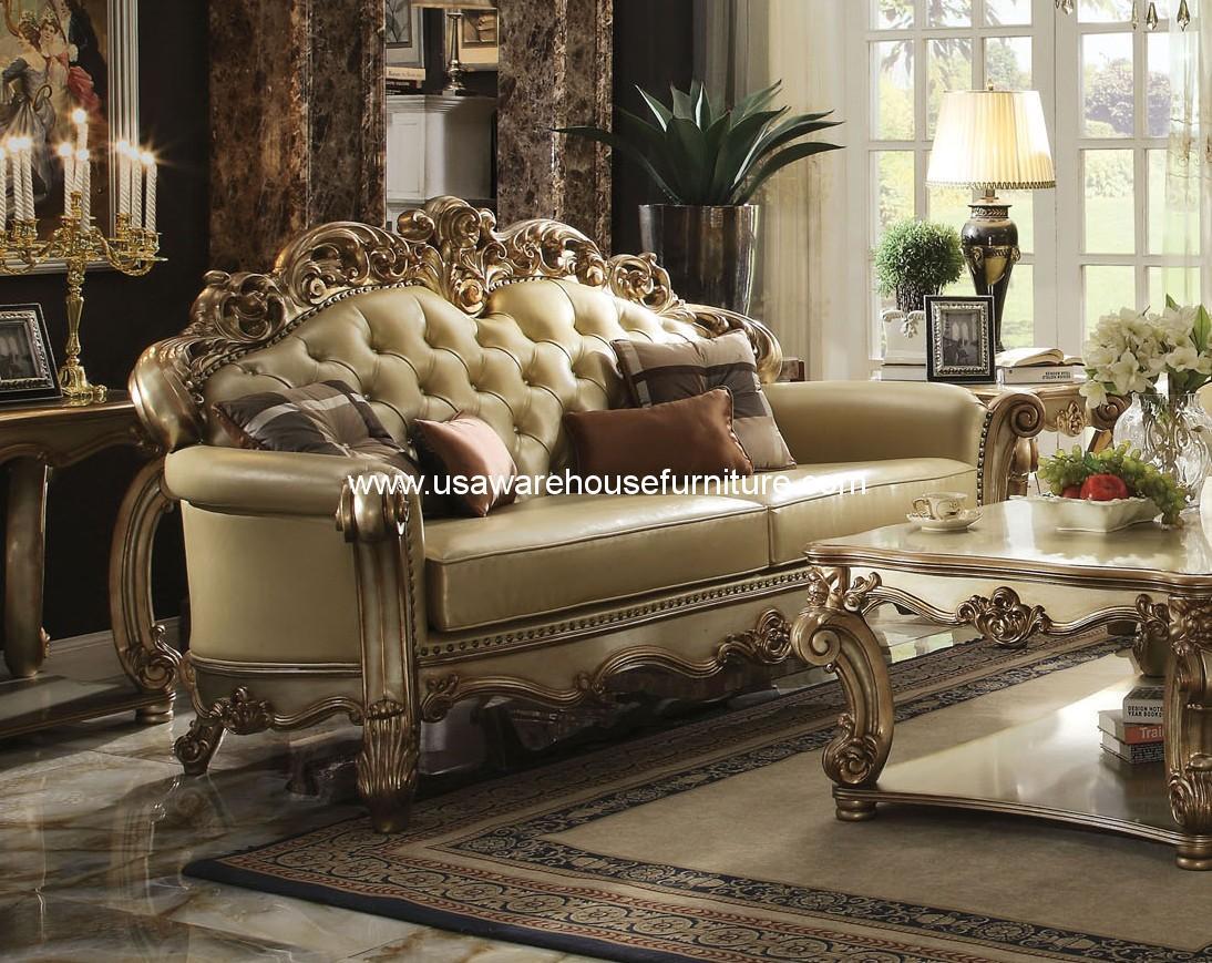 Acme Furniture Gold Patina Vendome Royal Living Set Usa Warehouse Furniture