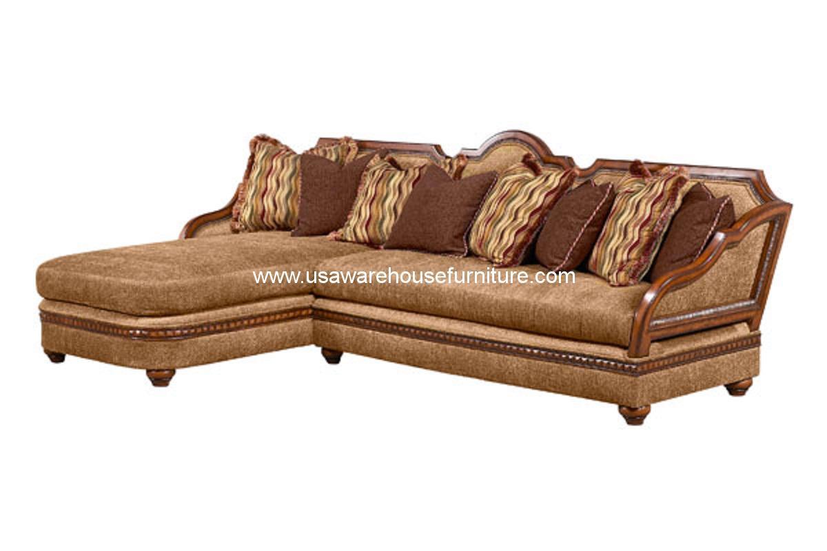 Benetti S Italia Lucianna Wood Trim Sectional Sofa Set