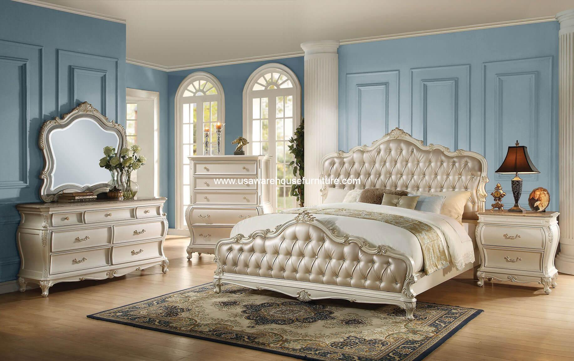 Pearl White Finish 4 Piece Bedroom Set USA Warehouse Furniture