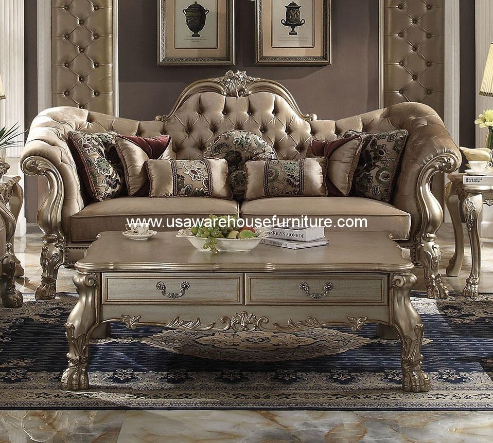 Dresden Bone Velvet Gold Patina Sofa Acme 52090 Usa Warehouse Furniture