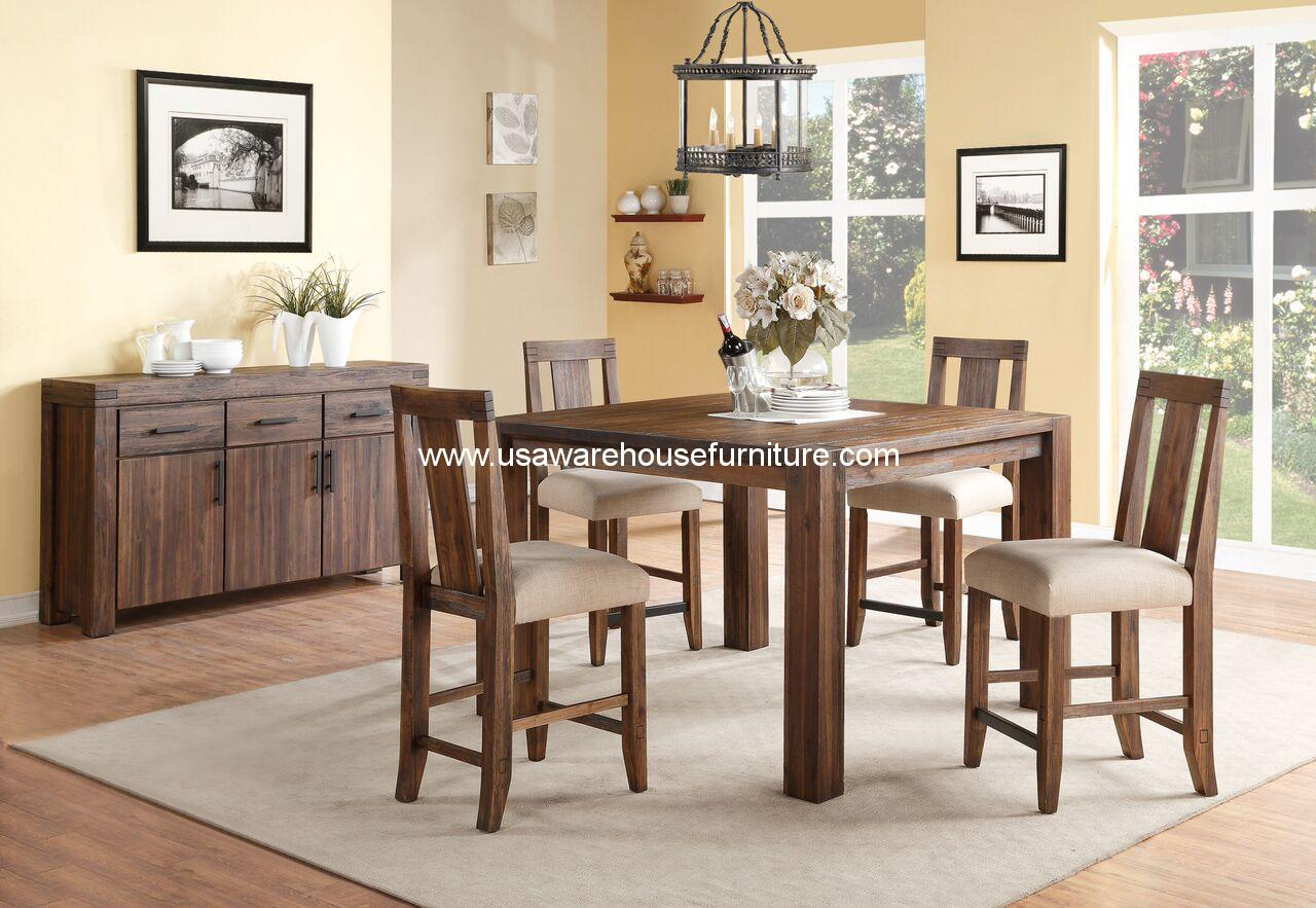 5 Piece Meadow Rustic Solid Wood Counter Height Dining Set