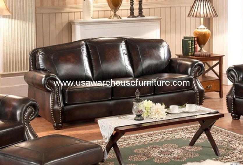 Hyde 100 full genuine leather sofa usa warehouse furniture for 100 genuine leather sectional sofa