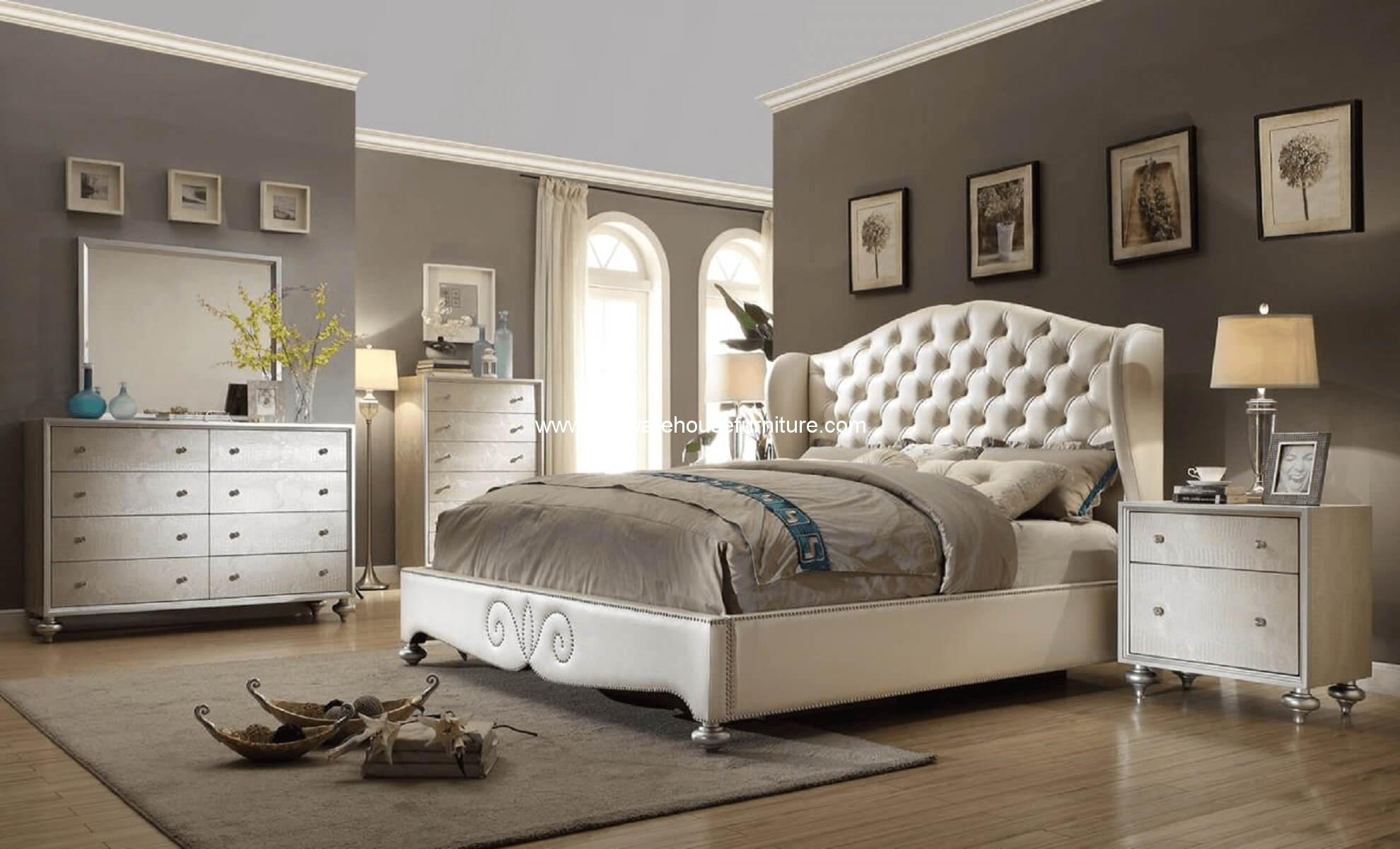 Paris Shelter Upholstered Pearl Bedroom Set
