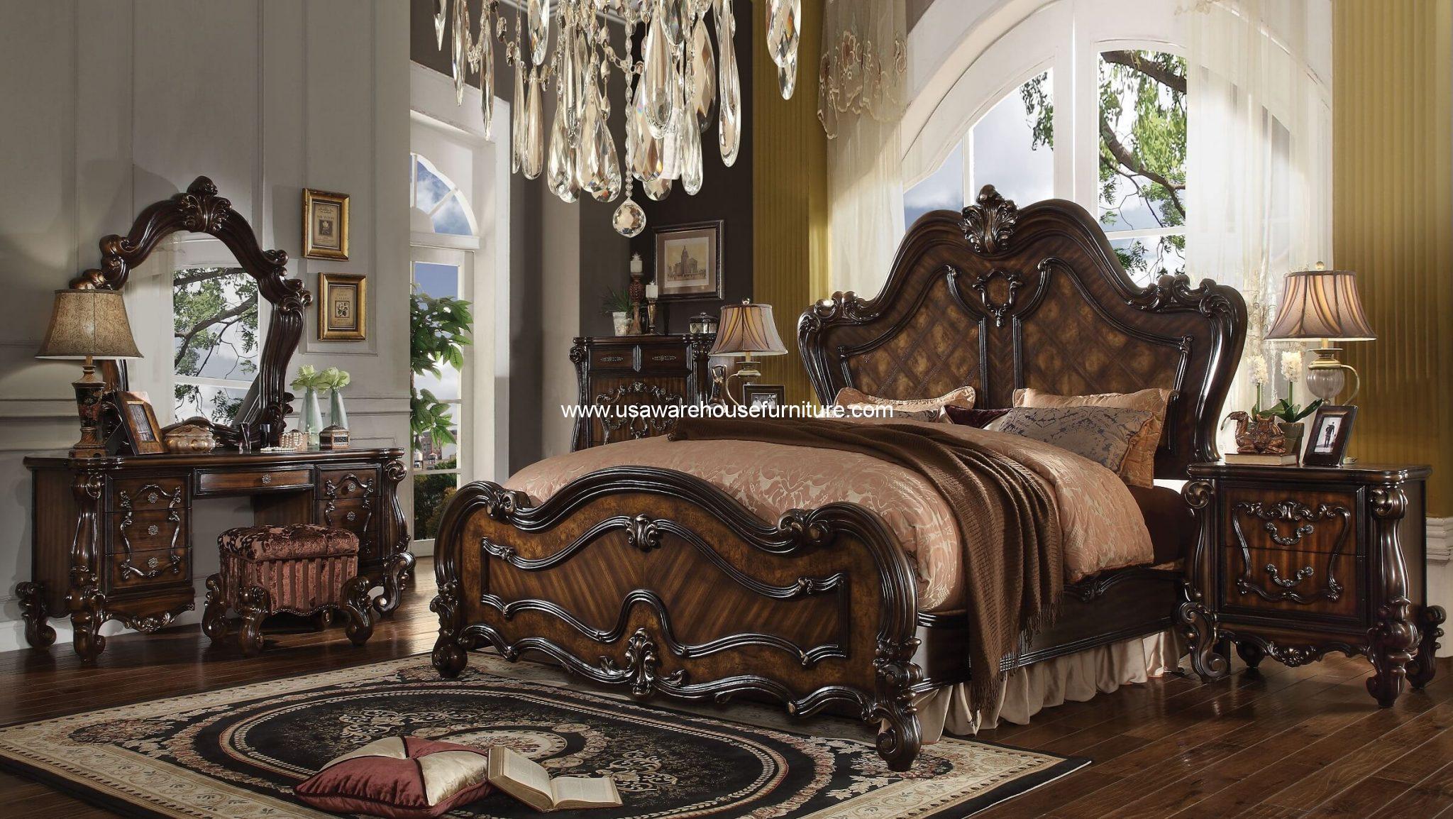5 Piece Versailles Traditional bedroom Set Cherry Oak Finish USA Warehouse