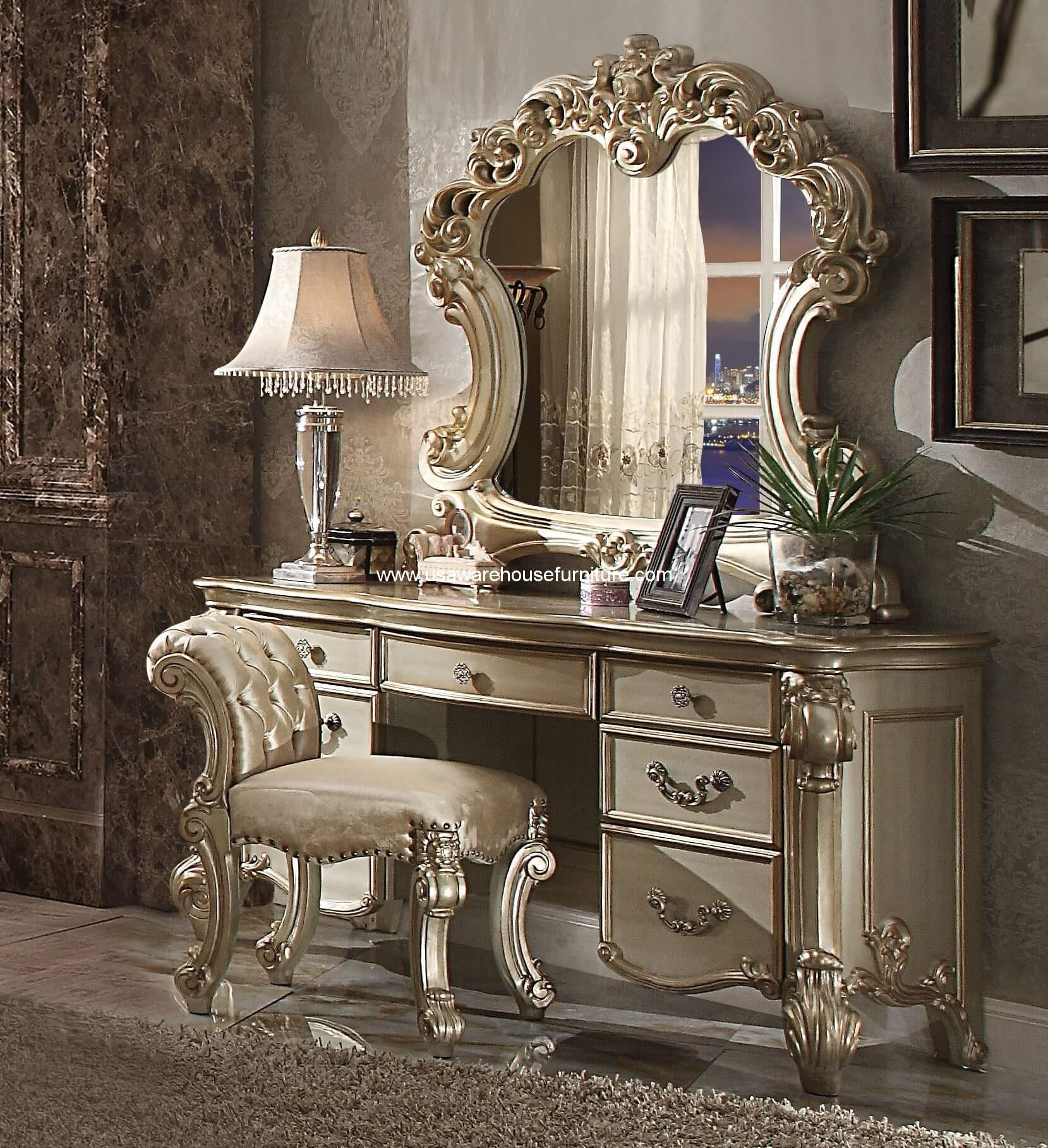 3 Piece Vendome Gold Patina Vanity Set With Stool Amp Mirror