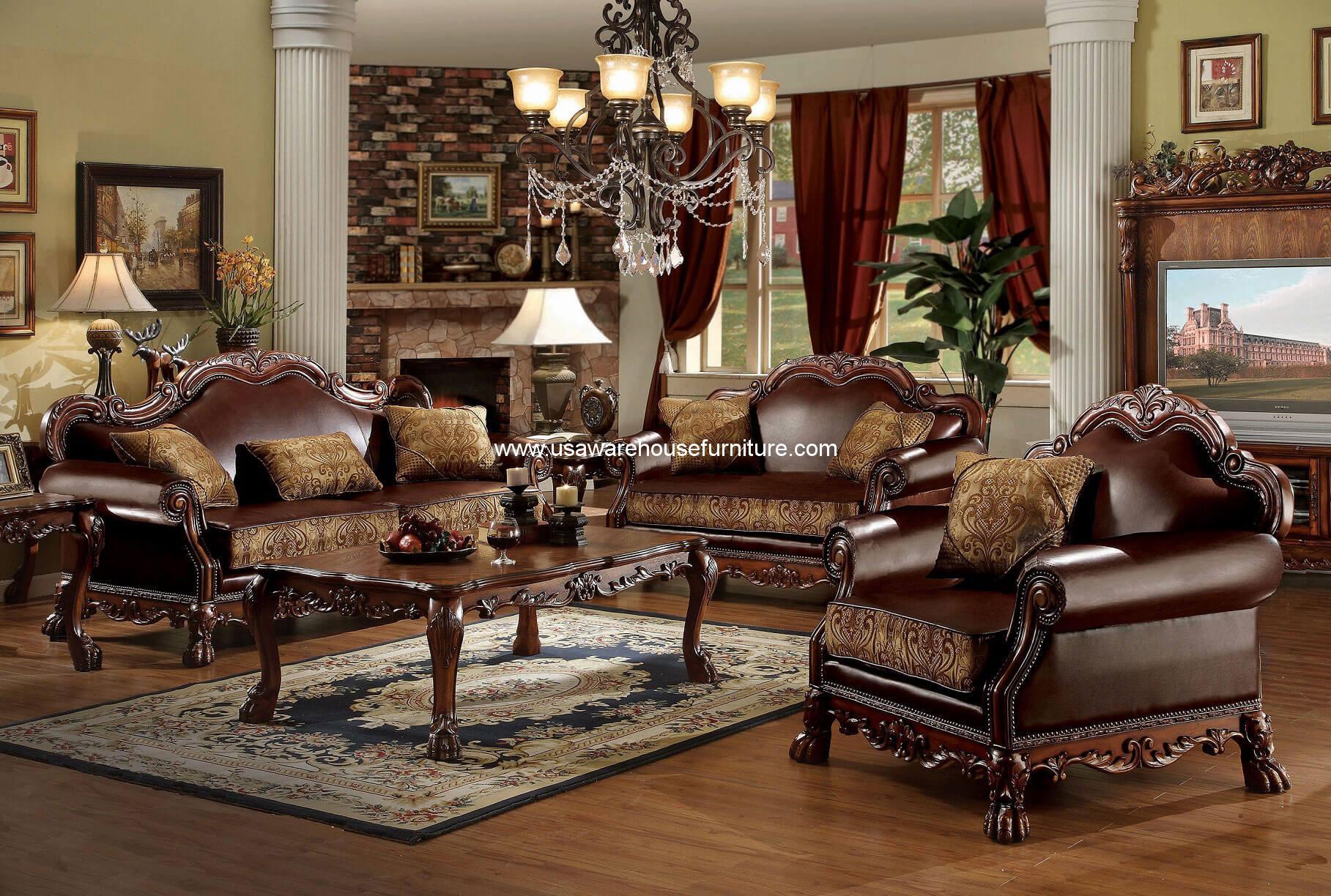 3 Piece Dresden Wood Trim Cherry Oak Living Set