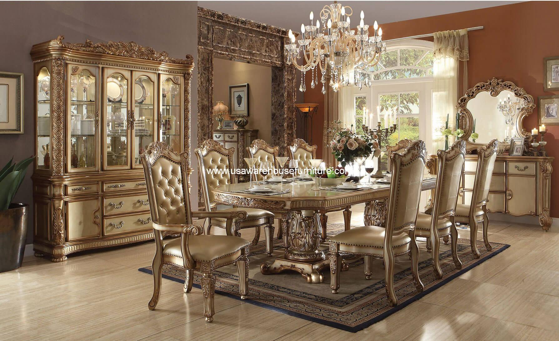 11 Piece Dining Room Set 11 Piece Vendome Dining Set Gold Patina Finish Usa Warehouse