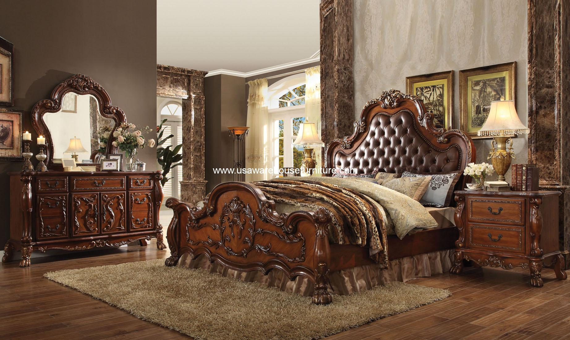 4 Piece Dresden Cherry Oak Tufted Bedroom Set Usa