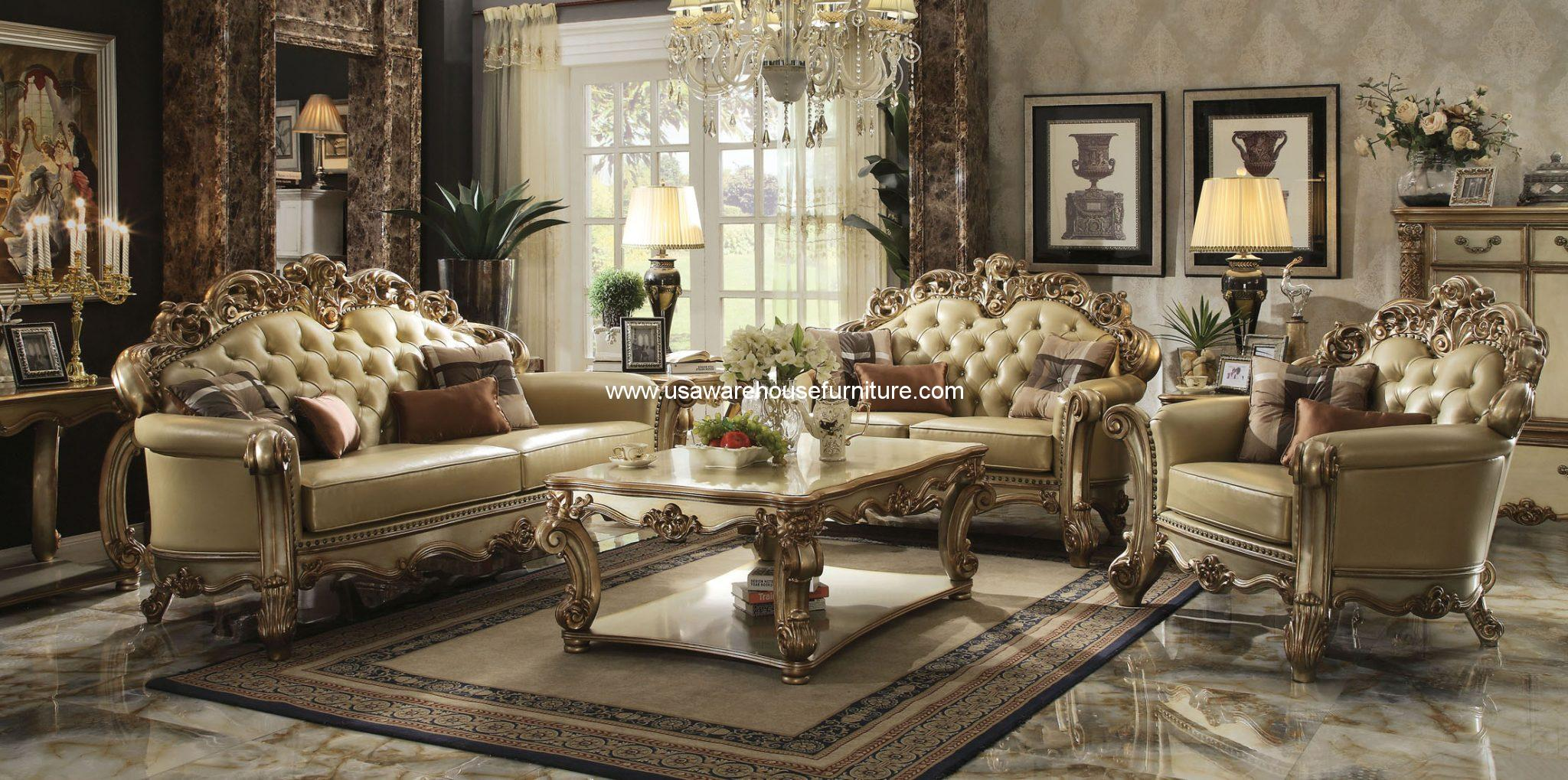 Acme furniture gold patina vendome royal living set usa - Set de table new york ...