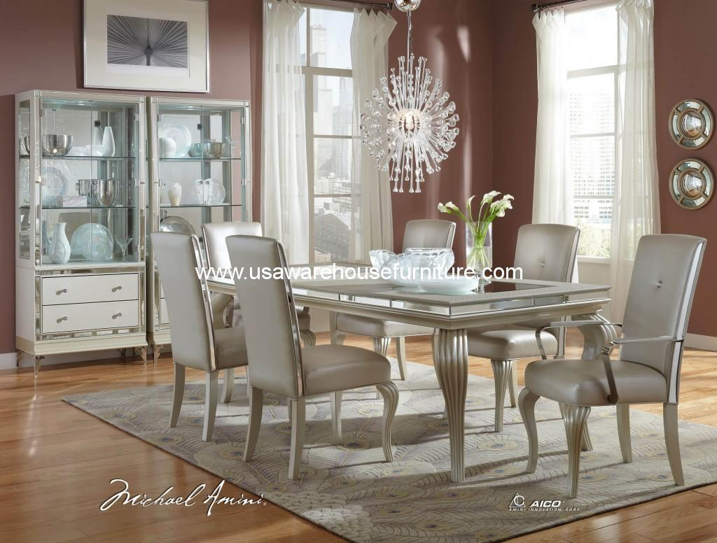 Amini Hollywood Loft Frost Dining Set