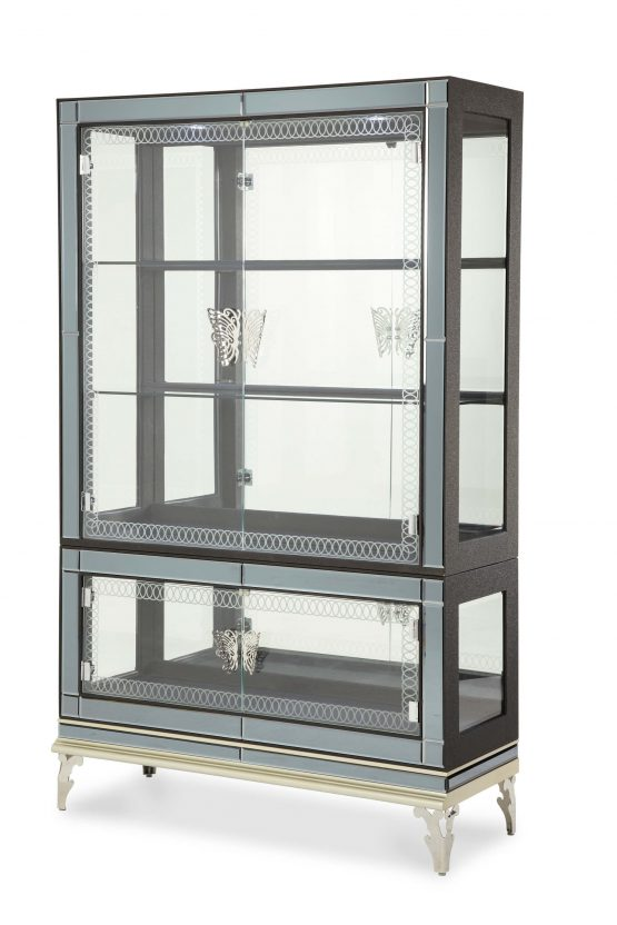 Hollywood Swank Caviar Curio with Glass Doors