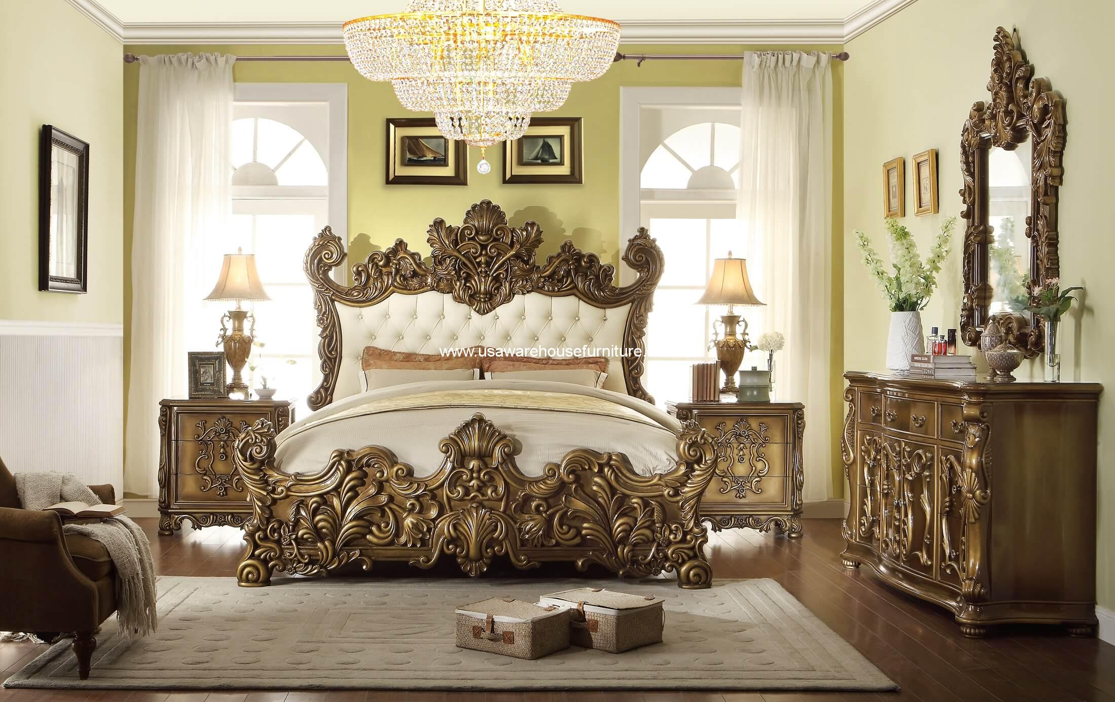 Homey Design Hd 8008 5pc Golden Royal Palace Bedroom Set