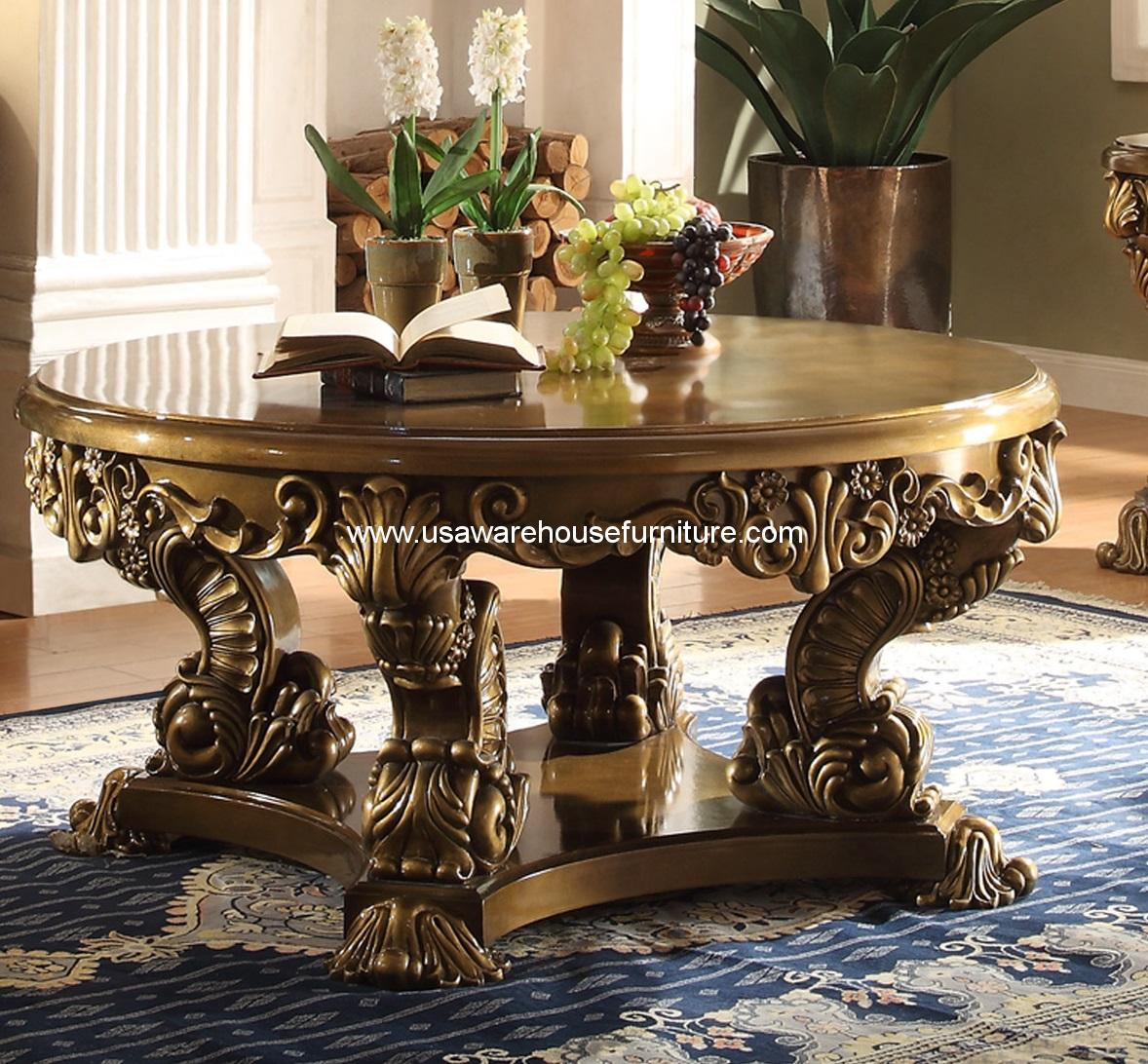 Victorian Style Marble Coffee Table: Homey Design HD-8008 Victorian Palace Round Cocktail Table