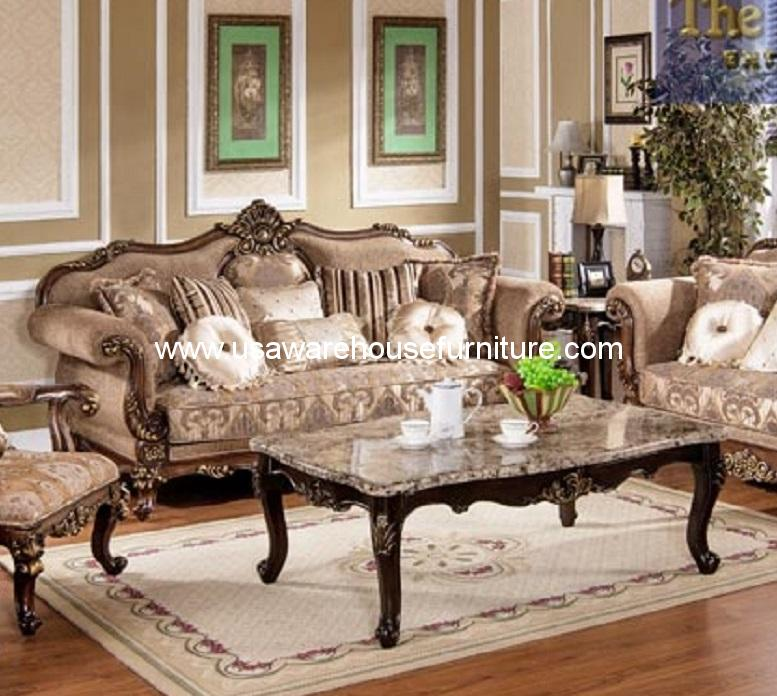 Mc1428 Gold Wood Trim Hazelnut Fabric Sofa