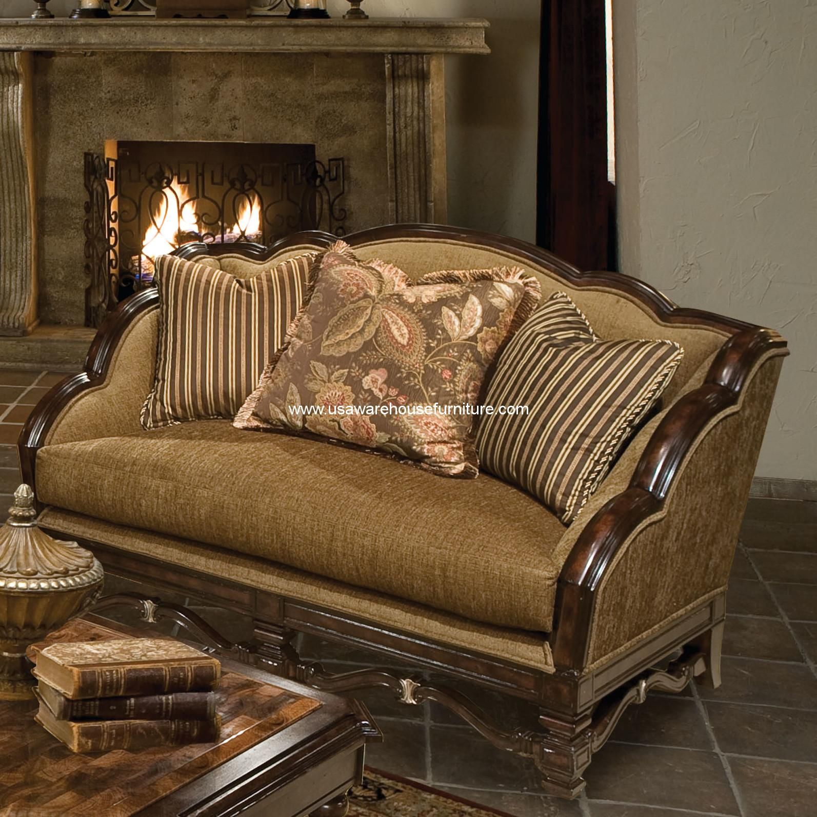 with wood gradyleather loveseat turned width grady height threshold arms item trim rolled violino and products leather
