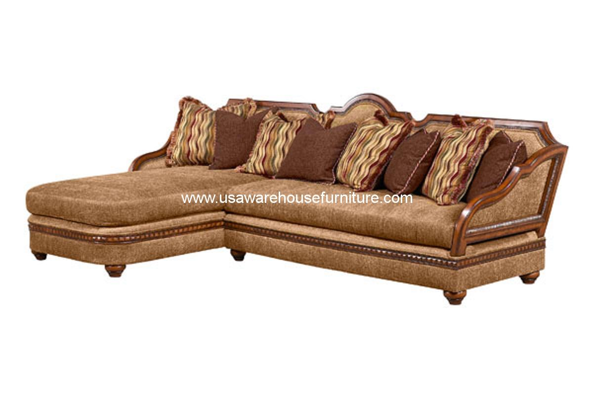 Benetti 39 s italia lucianna wood trim sectional sofa set for Sectional furniture