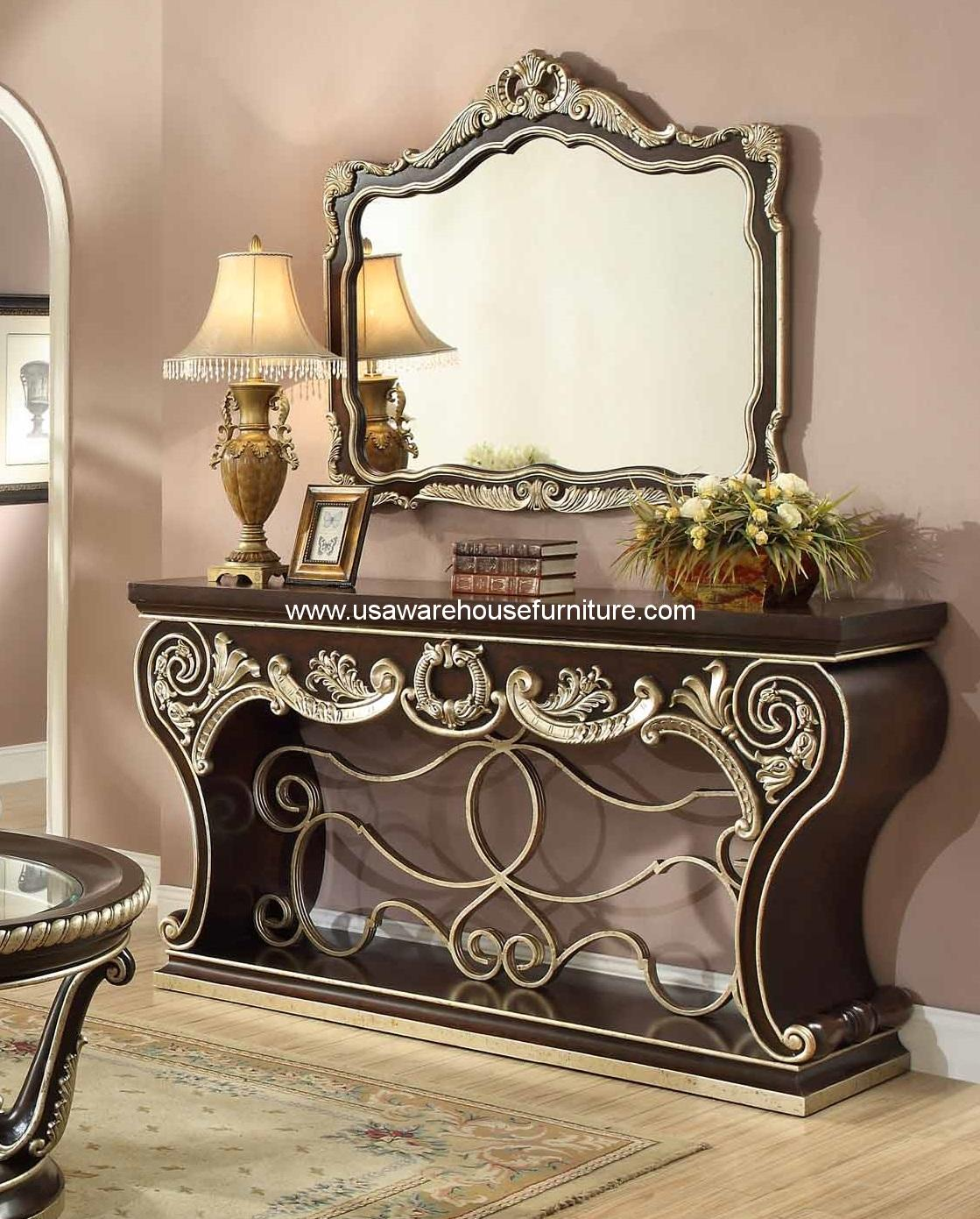 Homey Design HD 213 Hamilton Console Table U0026 Mirror