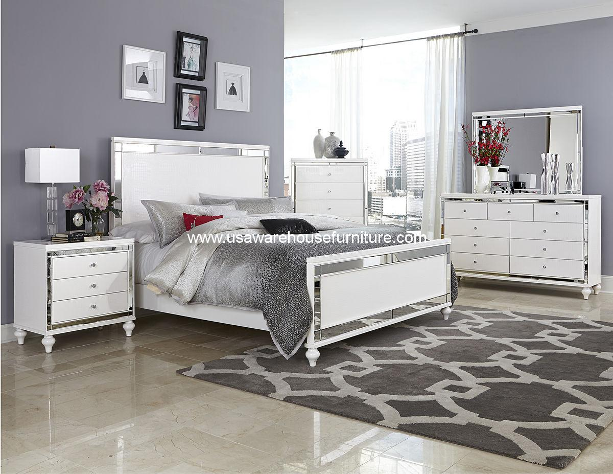 Alonza Beveled Mirror Frame 4 Piece Bedroom Set By Homelegance Usa Warehouse Furniture