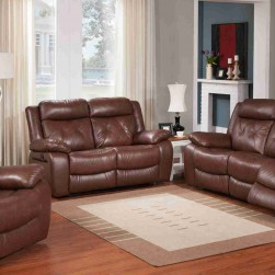 3 piece capitol brown genuine leather reclining set