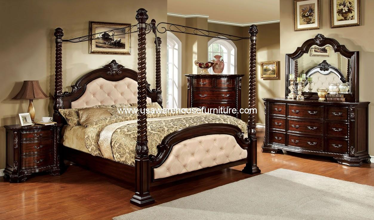 4 piece monte vista ii poster canopy bedroom set usa warehouse furniture. Black Bedroom Furniture Sets. Home Design Ideas