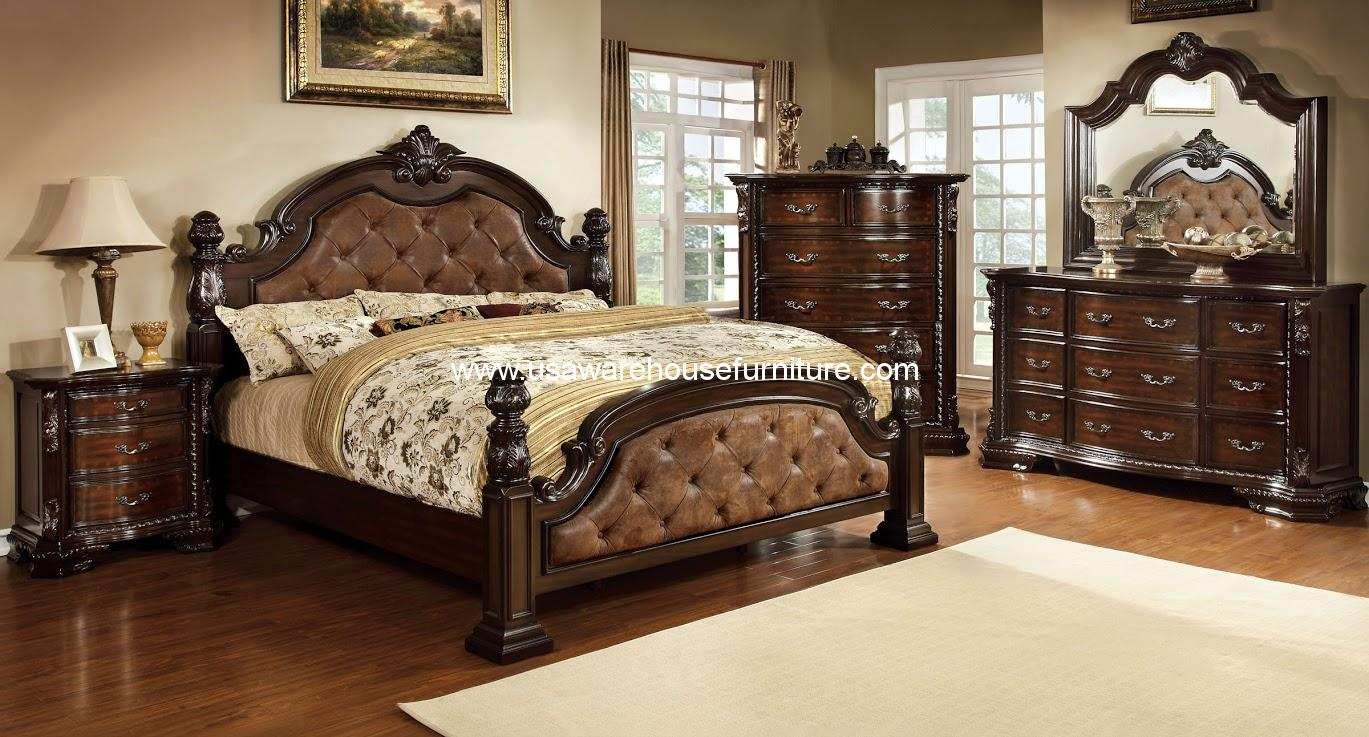Furniture of america 4 piece monte vista i bedroom set for Bedroom furniture warehouse