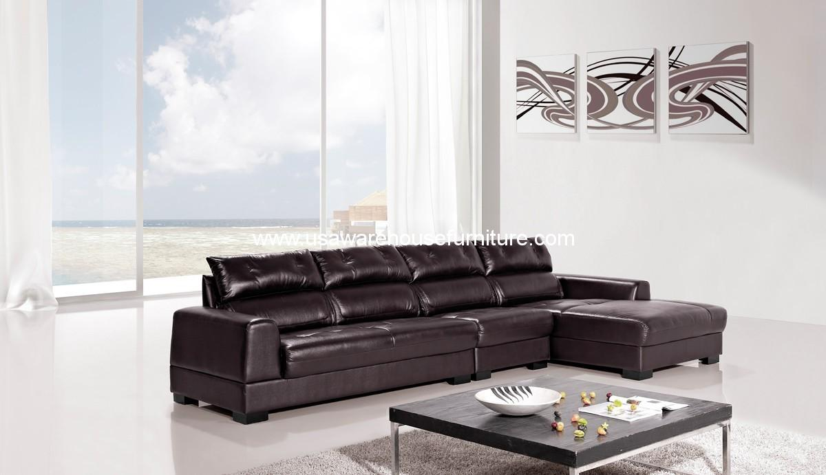 3 piece diva genuine dark brown leather sectional sofa set for 3 piece brown leather sectional sofa