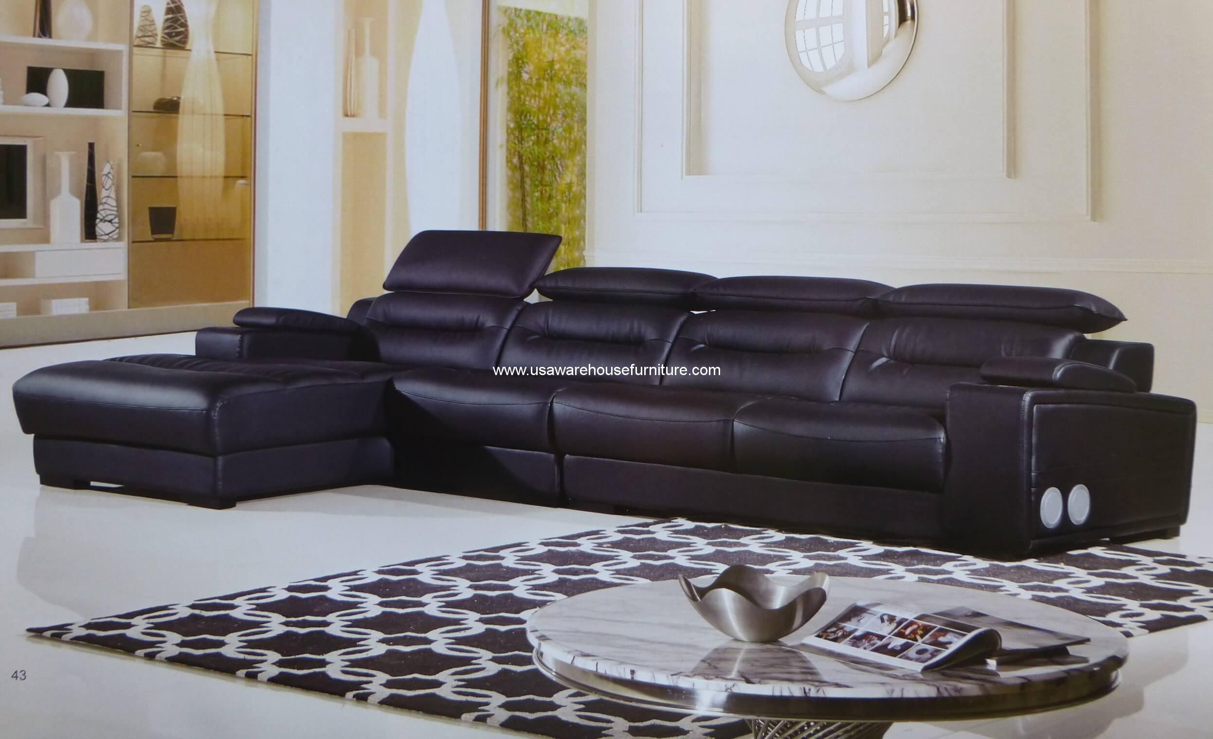 3 piece modern polaris black leather sectional set with for 3 piece black modern sectional sofa