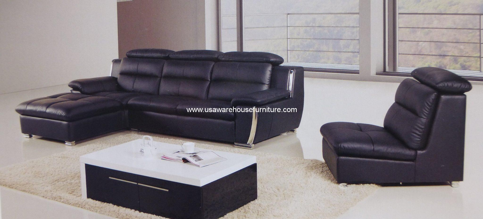 3 piece nicolaus black leather modern sectional set with for 3 piece black modern sectional sofa