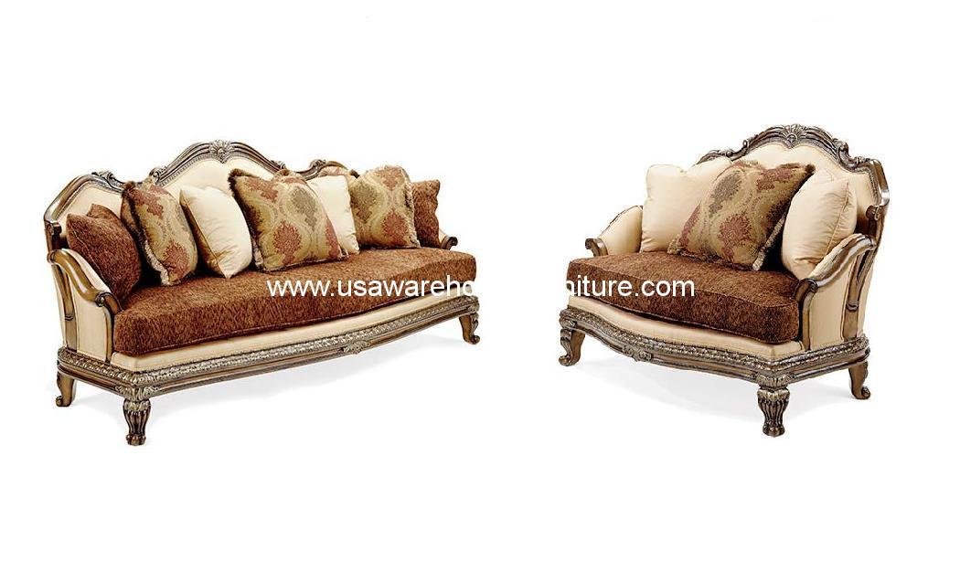 Benetti S Italia Camelia Wood Trim 2 Piece Sofa Chair Half