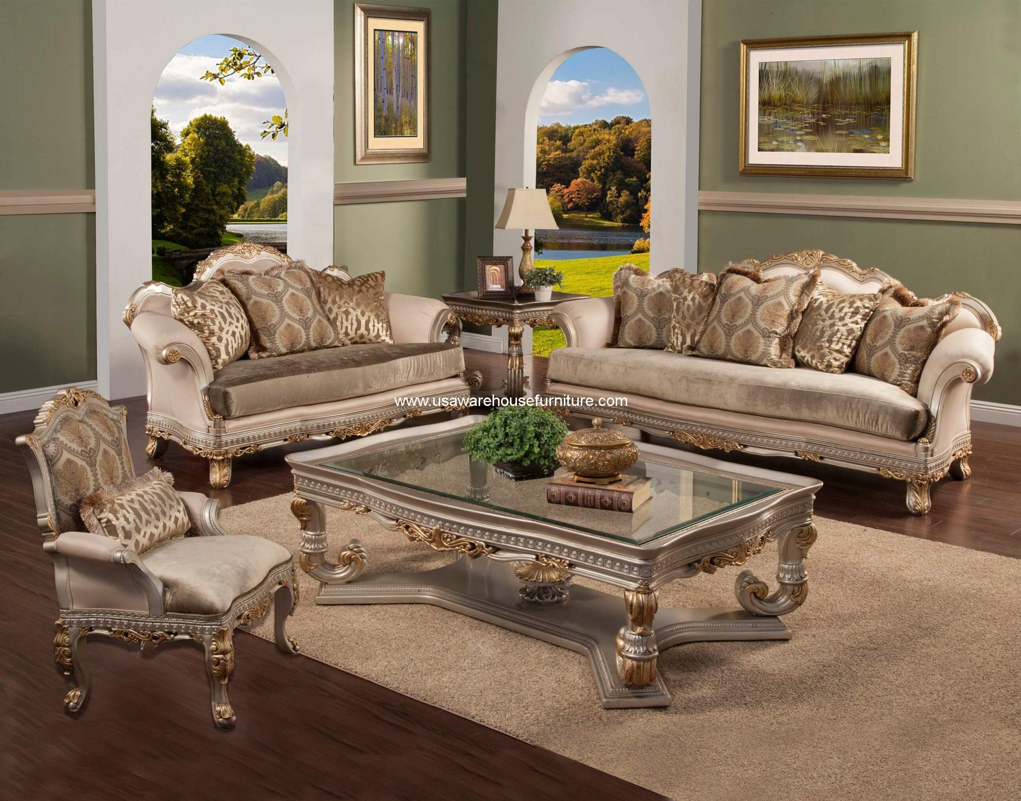 Benetti 39 S Italia Ornella Wood Trim Sofa Set In Silver Gold