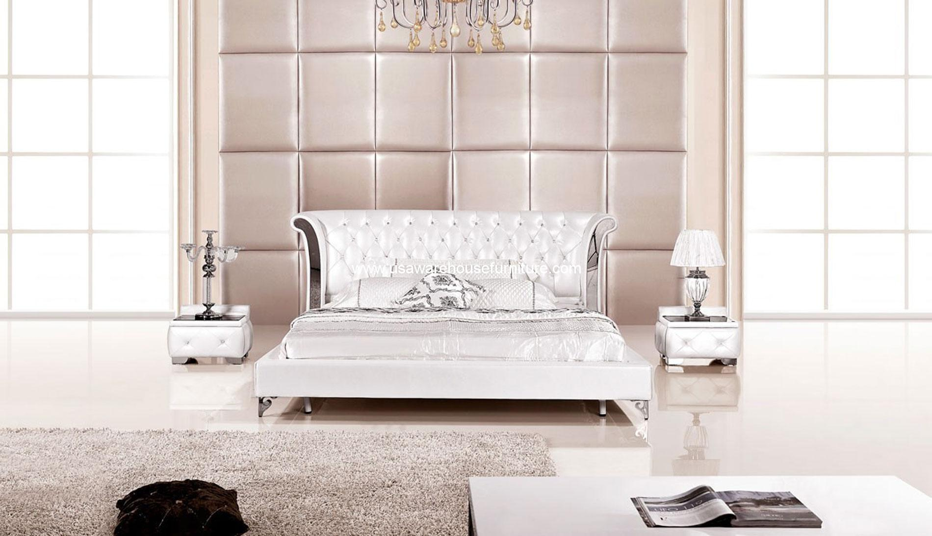 Modern 3 Piece Wing Genuine White Leather Bedroom Set Usa Warehouse Furniture