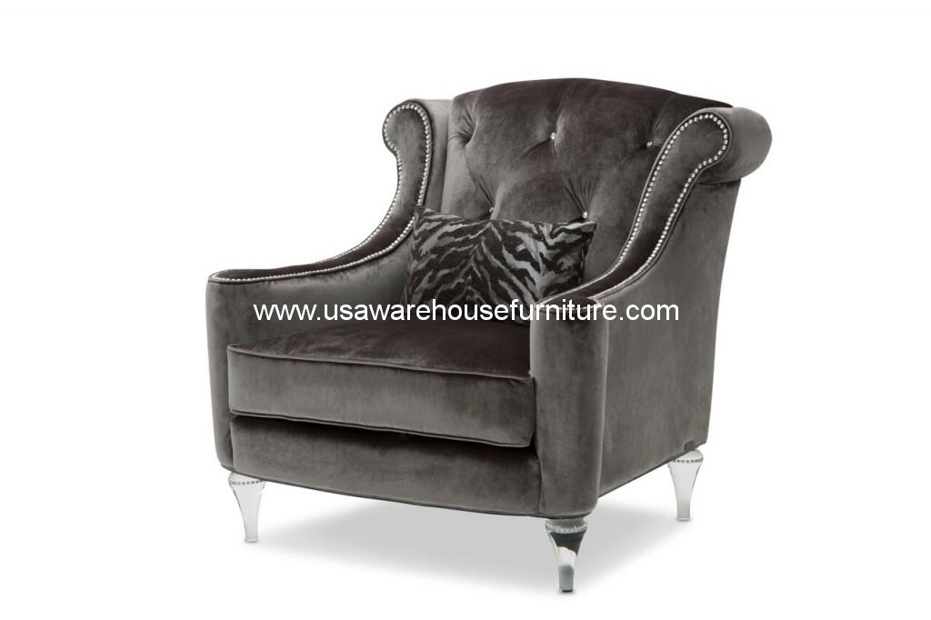 Michael Amini Studio Adele Tufted Chair with Crystals