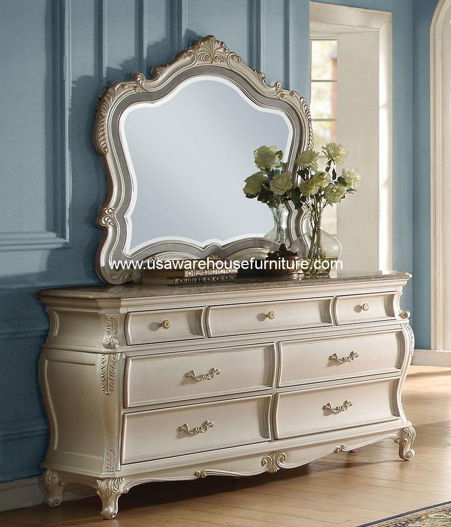 Chantelle Drawer Dresser W Granite Top Pearl White Acme 23545 Usa Warehouse Furniture