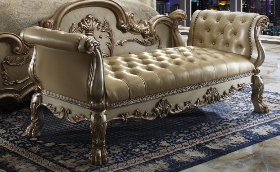 Dresden Gold Patina Bed Bench