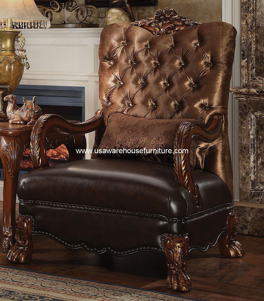 Dresden Golden Brown Velvet Accent Chair Acme 52097 Usa