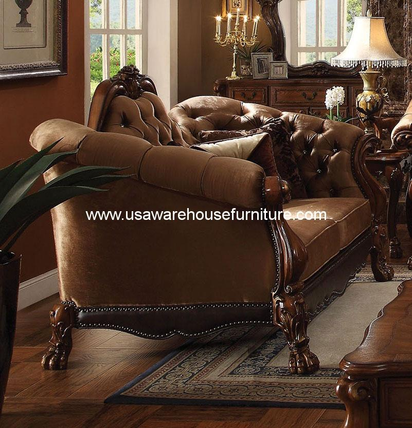Dresden Wood Trim Golden Brown Velvet Loveseat Acme 52096