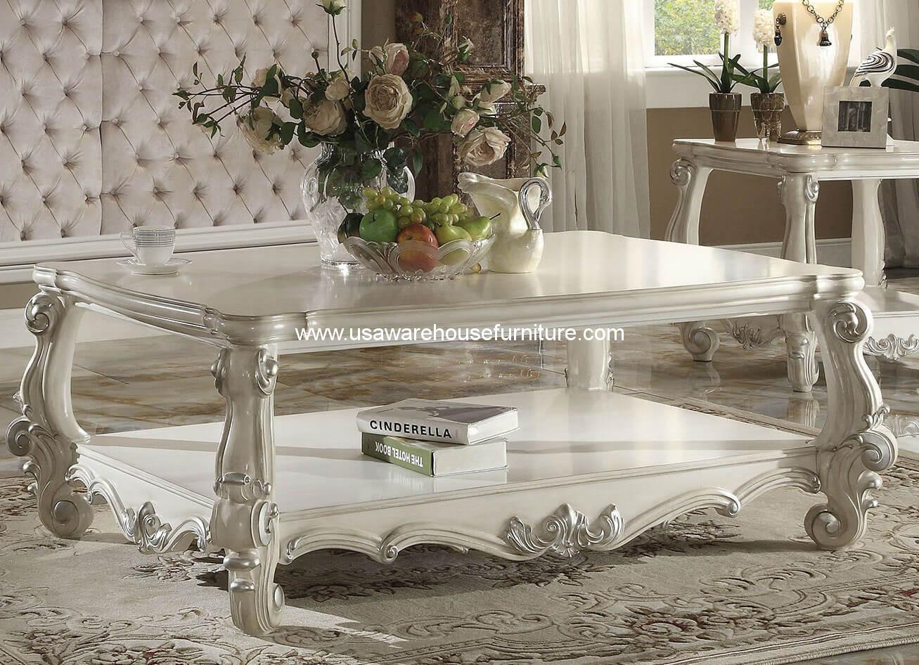 Versailles Coffee Table In Bone White Acme 82123 Usa