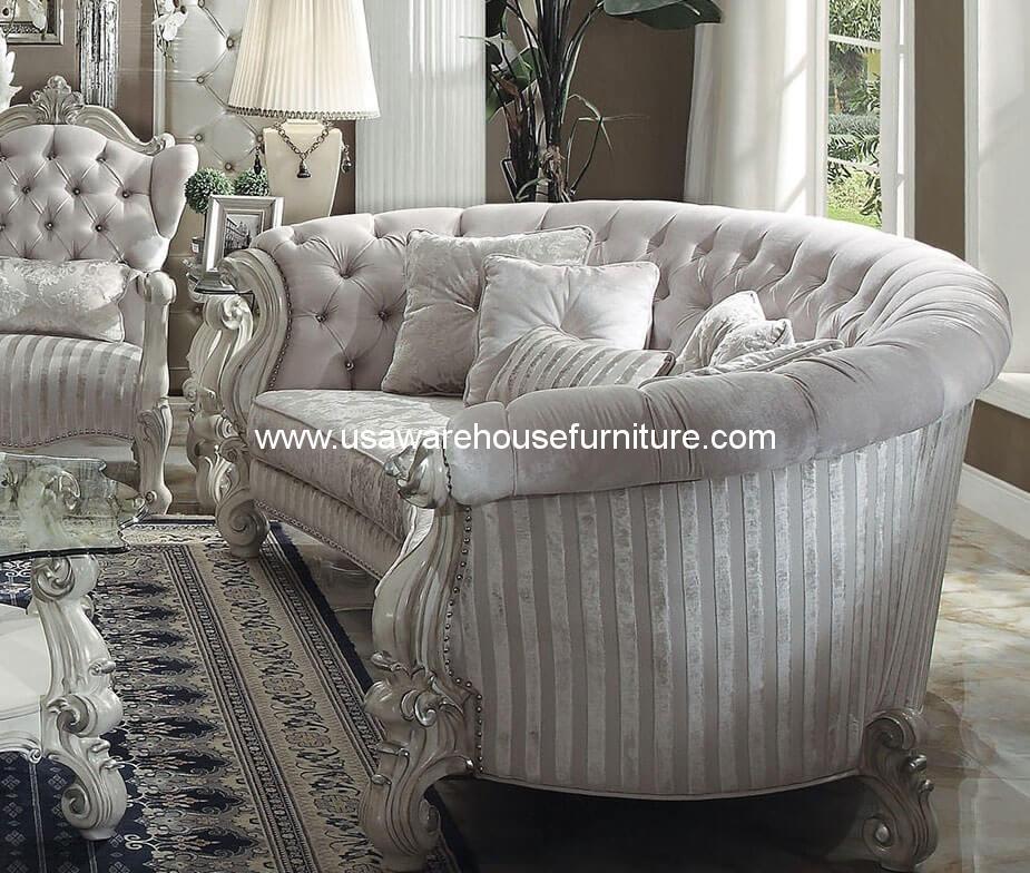 Versailles Curl Mansion Sofa In Ivory Velvet