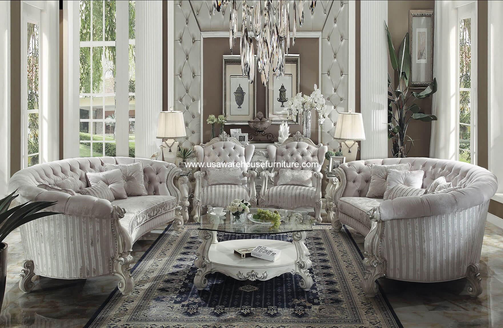Versailles Curved Sofa U0026 Accent Chair 4 Piece Set In Ivory Velvet