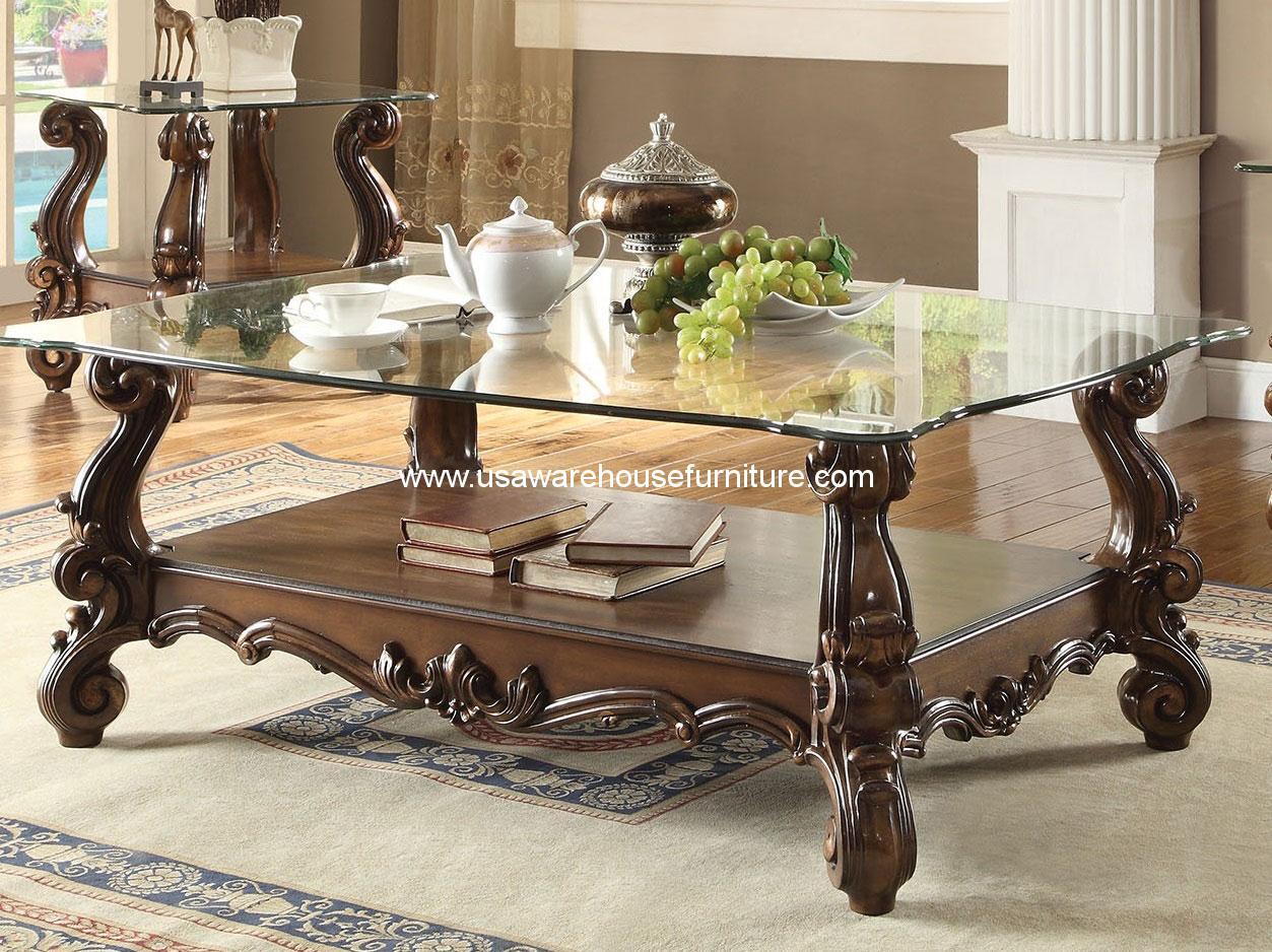 versailles glass top coffee table cherry oak acme 82100 usa warehouse furniture. Black Bedroom Furniture Sets. Home Design Ideas