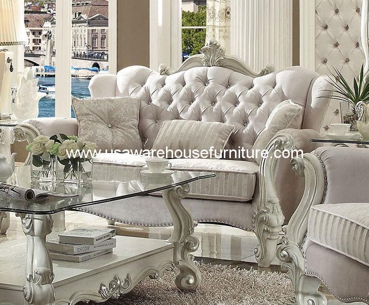 Versailles Loveseat Upholstered Ivory Velvet Acme 52106