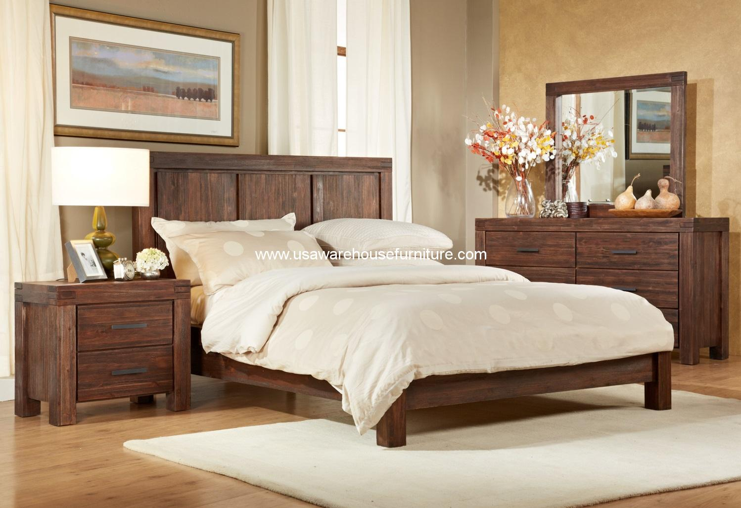 4 piece meadow solid wood bedroom set usa warehouse furniture. Black Bedroom Furniture Sets. Home Design Ideas