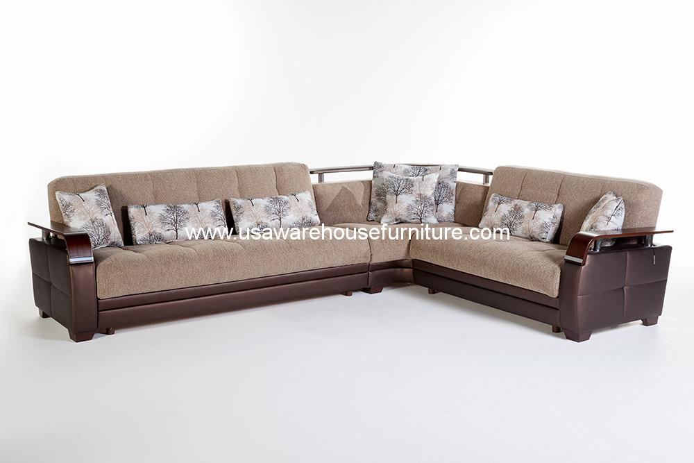 demka dogal sectional sleeper w storage forest brown chenille usa warehouse furniture. Black Bedroom Furniture Sets. Home Design Ideas