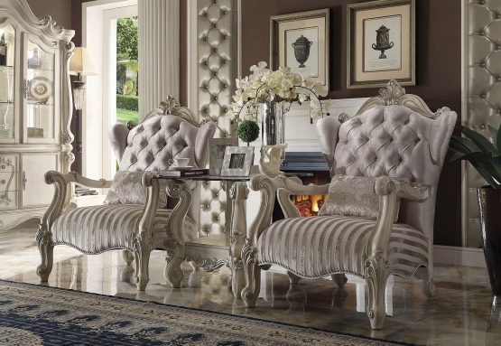 3 Piece Versailles Accent Chair Ivory Velvet