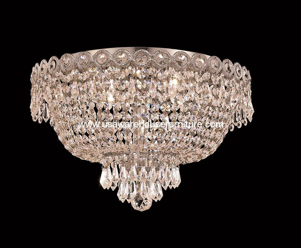 4 lights flush mount 16quot crystal chandelier 1900 century for Flush mount crystal chandelier lighting