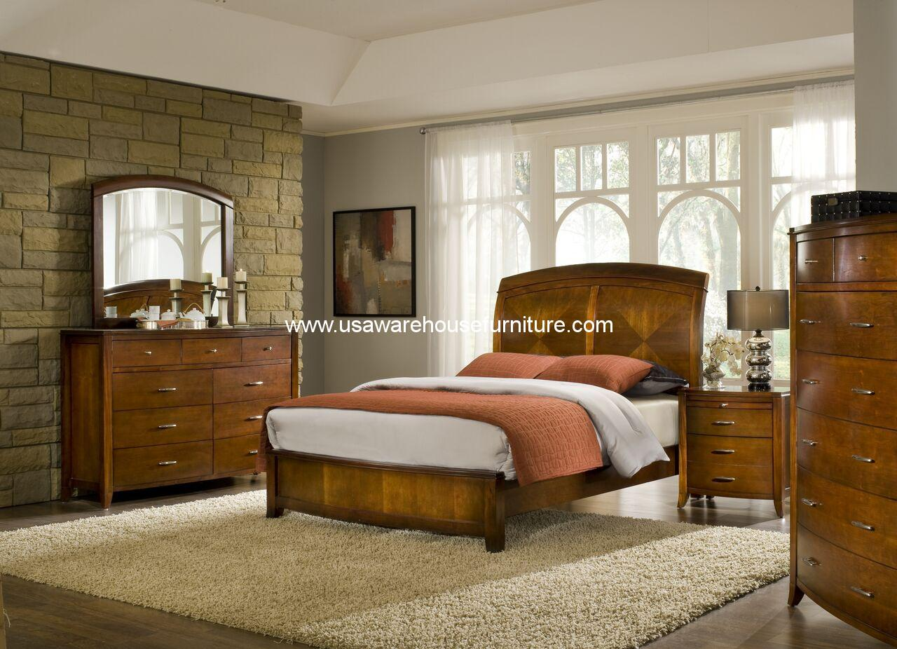 4 Piece Brighton Solid Wood Low Profile Bedroom Set Usa Warehouse Furniture