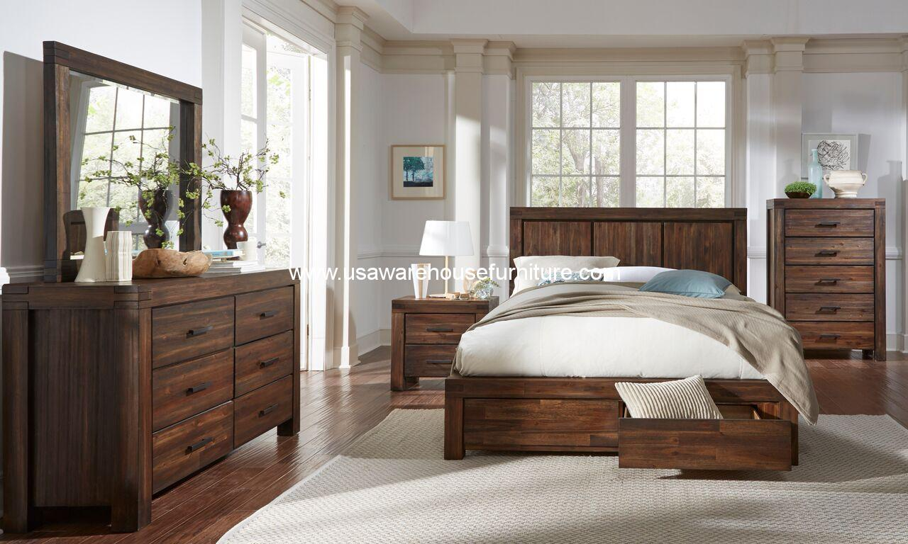 4 Piece Meadow Solid Wood Storage Bedroom Set Usa Warehouse Furniture