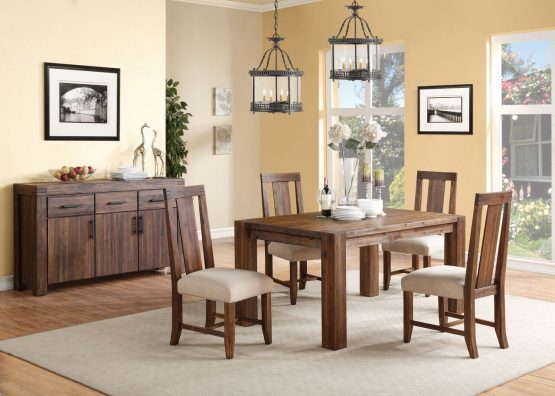 5 Piece Meadow Rustic Solid Wood Dining Set