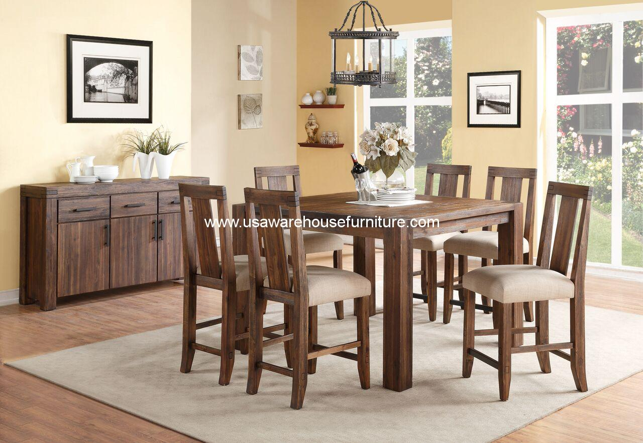Meadow Rustic Solid Wood Counter Height Dining Set